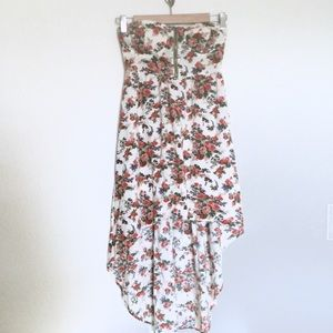 Poetry Floral Strapless High Low Dress